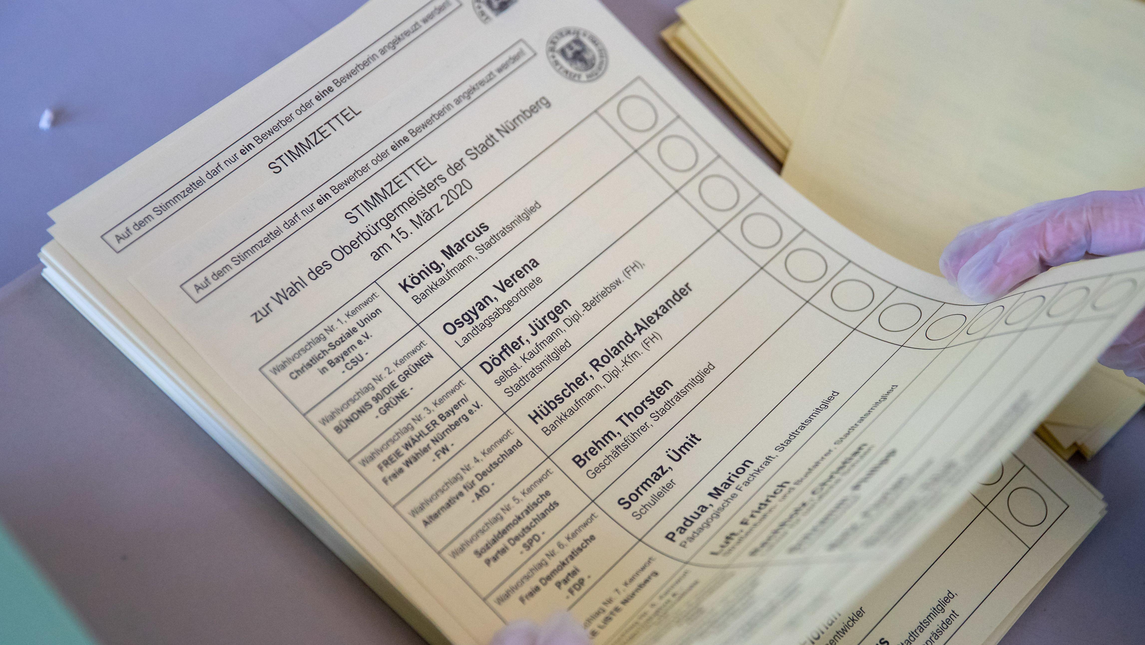 Wahlzettel für die Kommunalwahl in Nürnberg
