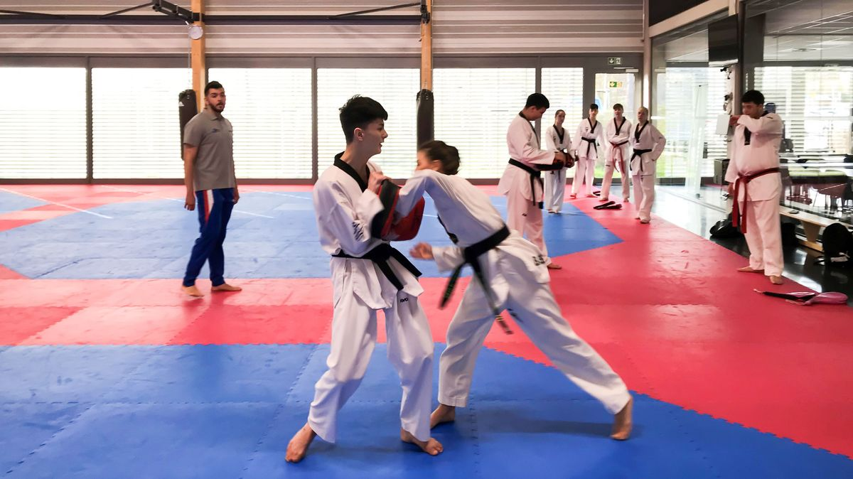 Taekwondo-Schüler im Bundesstützpunkt in Nürnberg.
