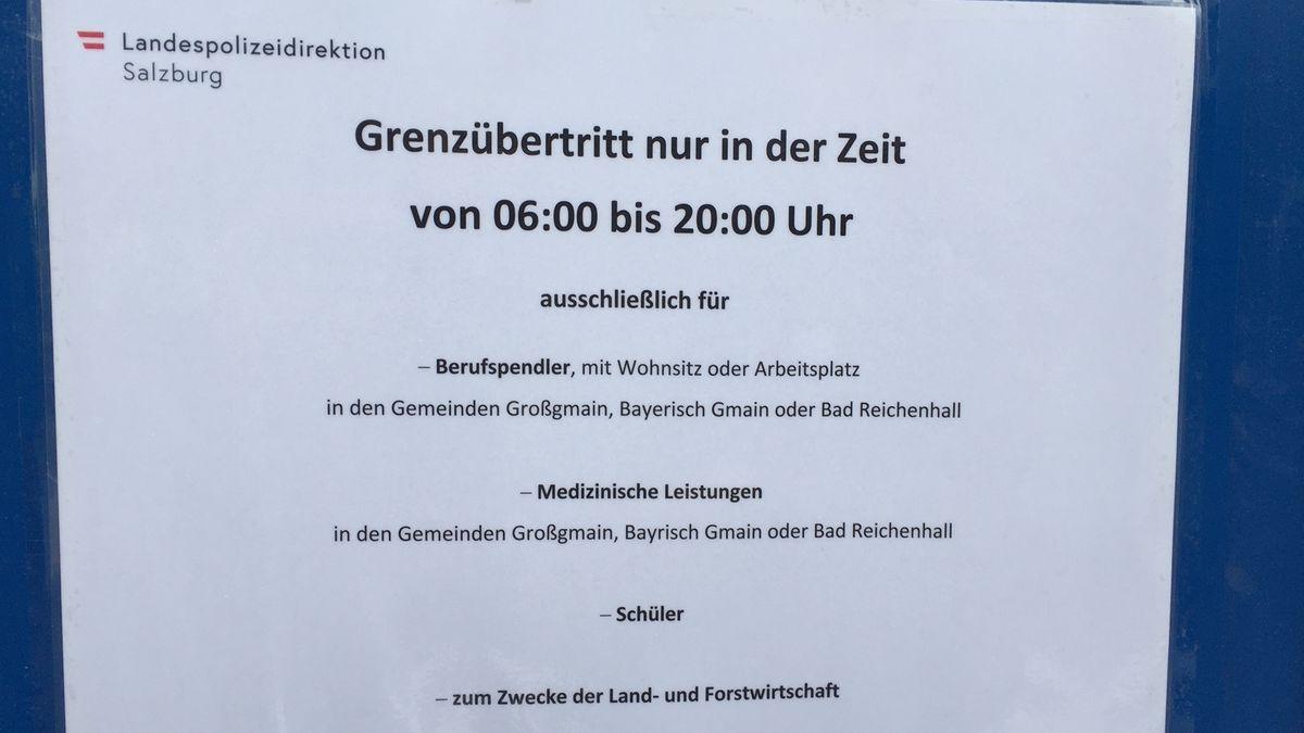 Hinweiszettel für den Grenzübertritt der Landespolizeidirektion Salzburg