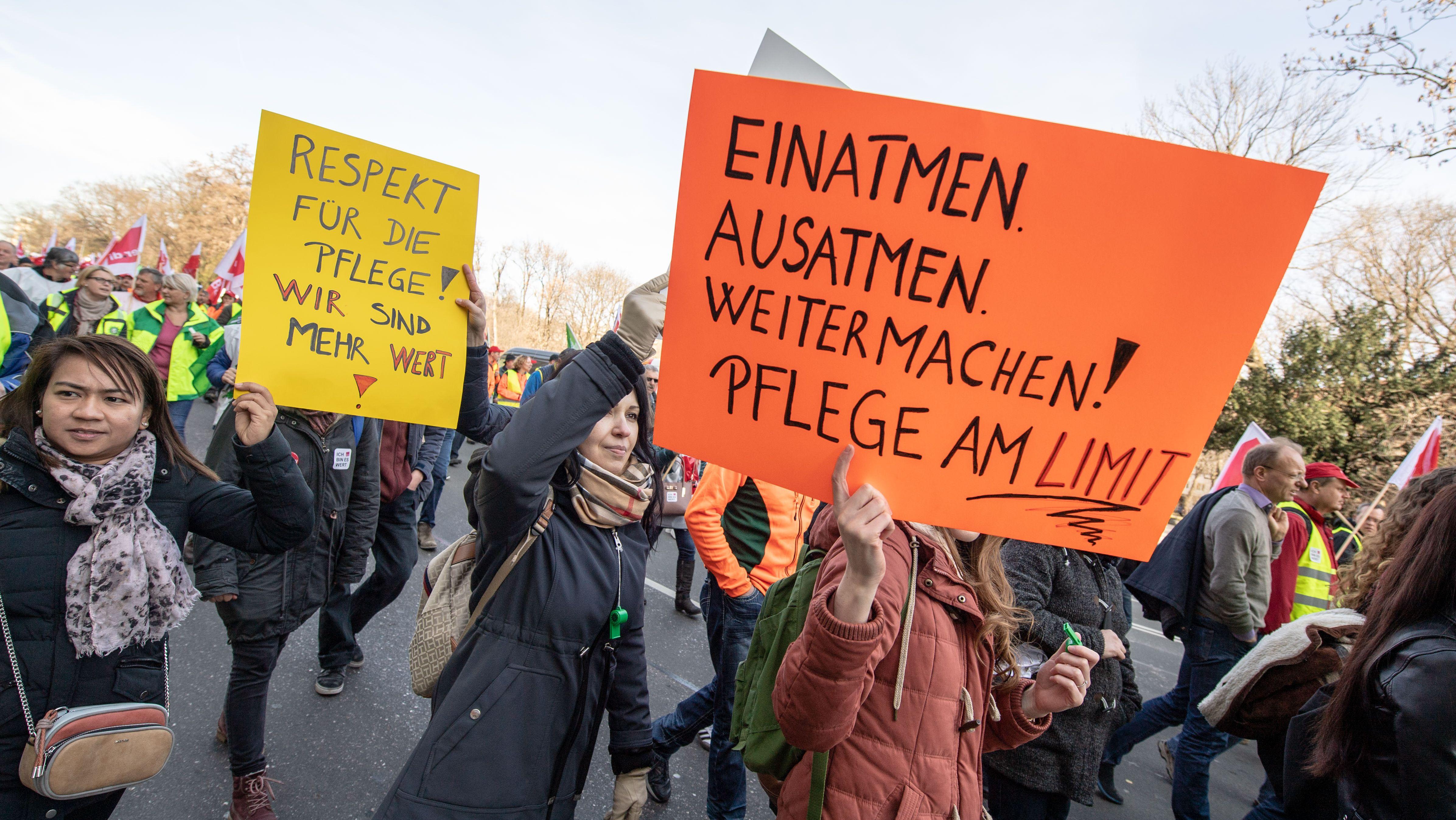 Warnstreik von Pflegekräften in München (Februar 2019)