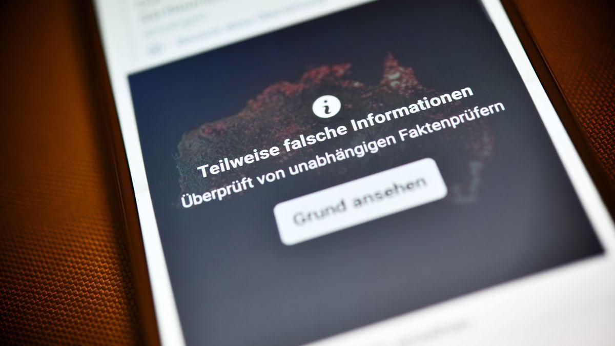 Smartphone mit aufgedeckter Falschinformation in einem sozialen Netzwerk