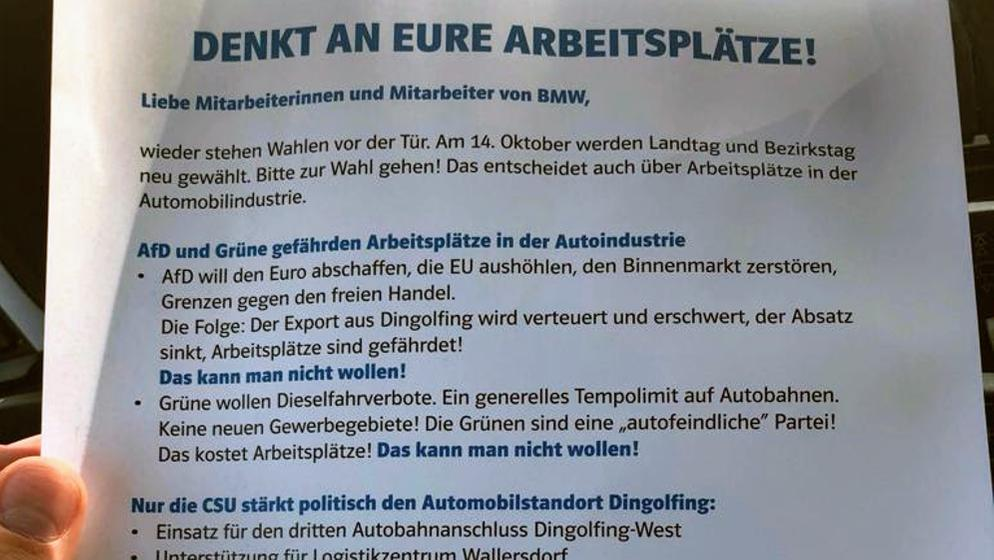 Die CSU hat ein Flugblatt wenige Tage vor der Landtagswahl vor den Werkstoren von BMW in Dingolfing verteilt   Bild:BR / Screenshot Twitter