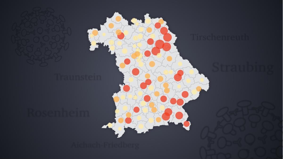 Corona-Daten Bayern und Deutschland - Karte Bayern mit roten Inzidenz-Markierungen