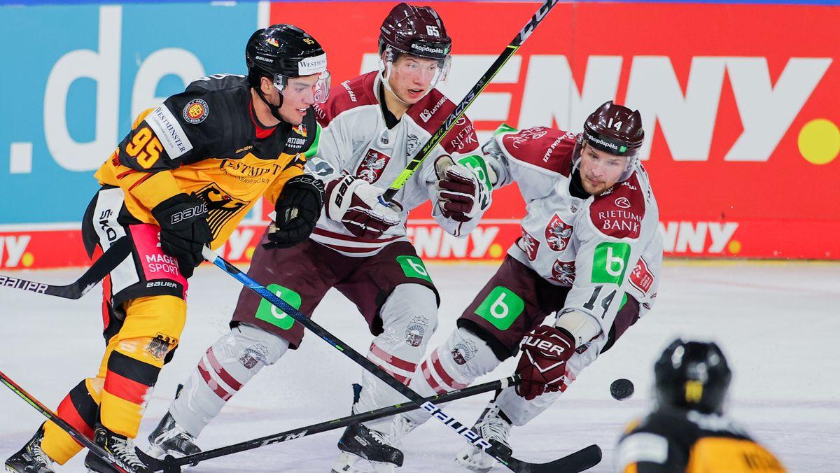 Spielszene aus der Partie Deutschland gegen Lettland