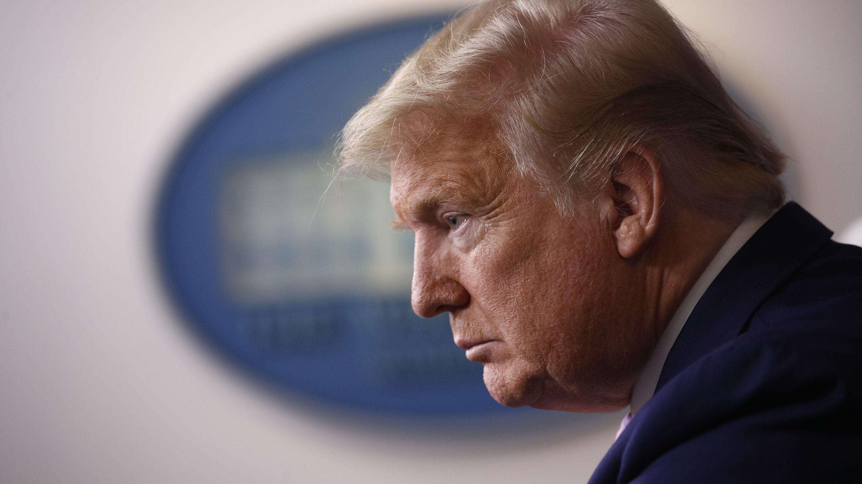 Donald Trump, Präsident der USA, spricht während einer Informationsveranstaltung der Coronavirus-Taskforce im Weißen Haus.