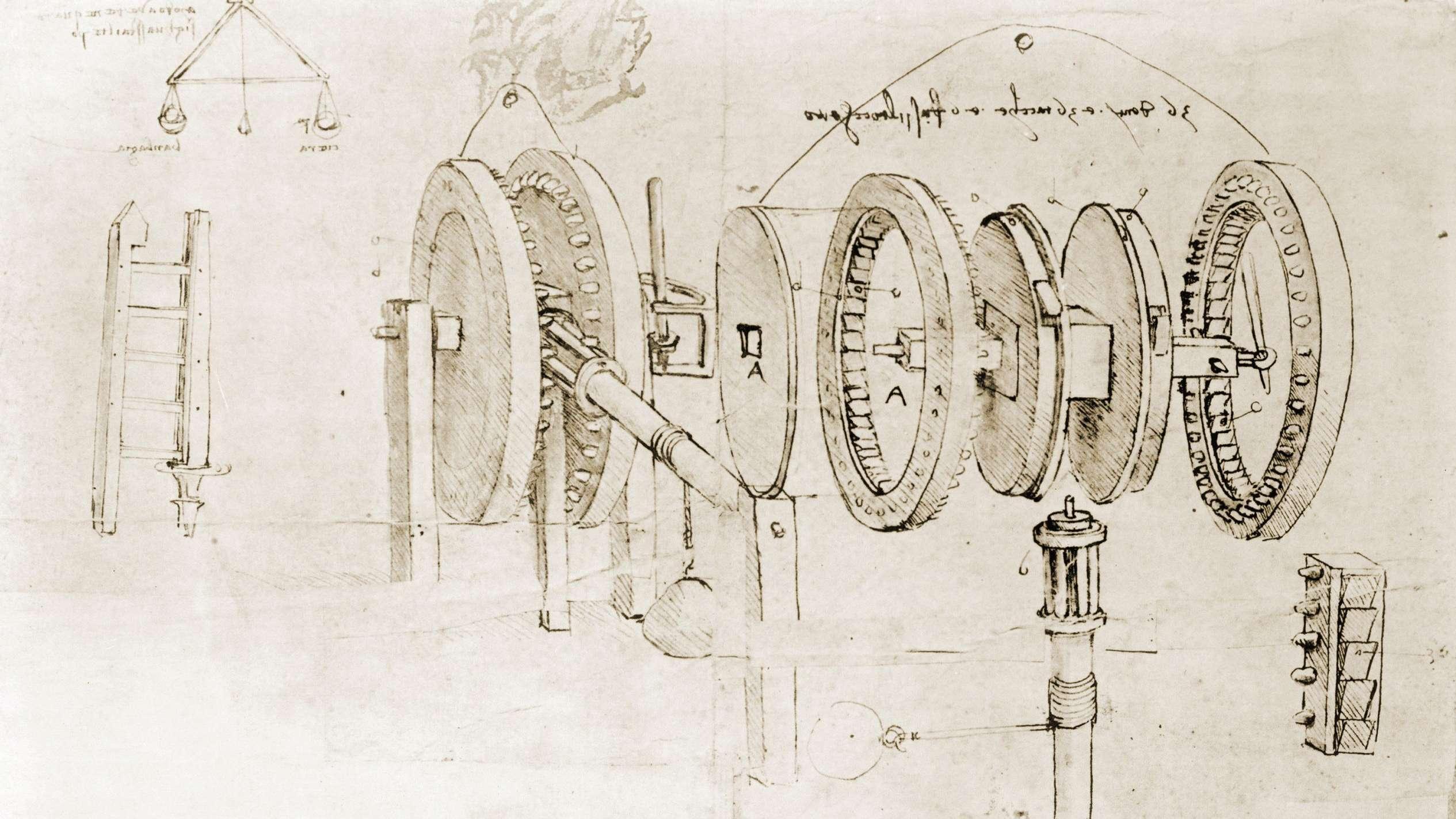 Eine zerlegte Getriebevorrichtung von Leonardo da Vinci