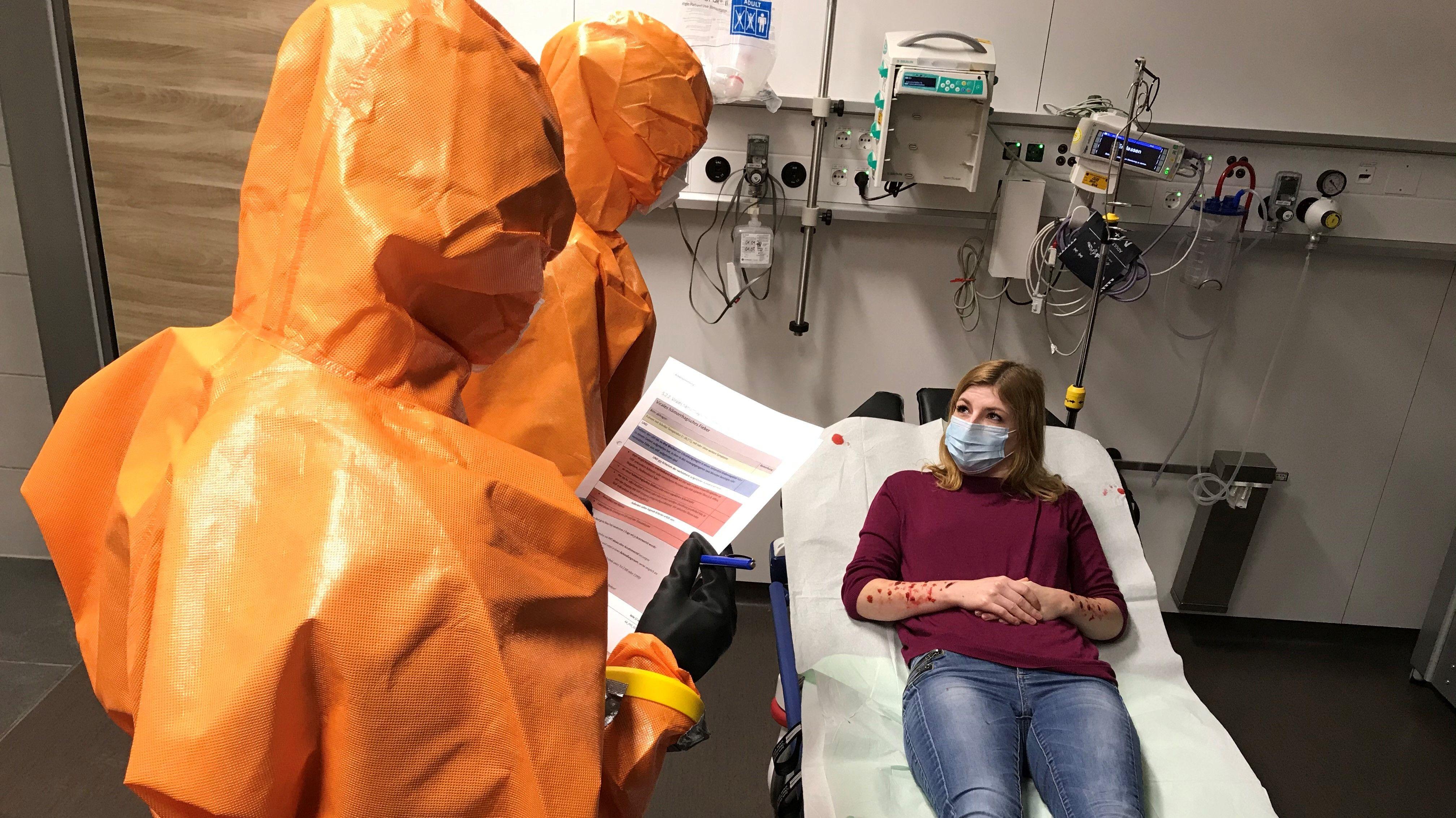 Pandemie-Übung am Josefskrankenhaus in Regensburg.