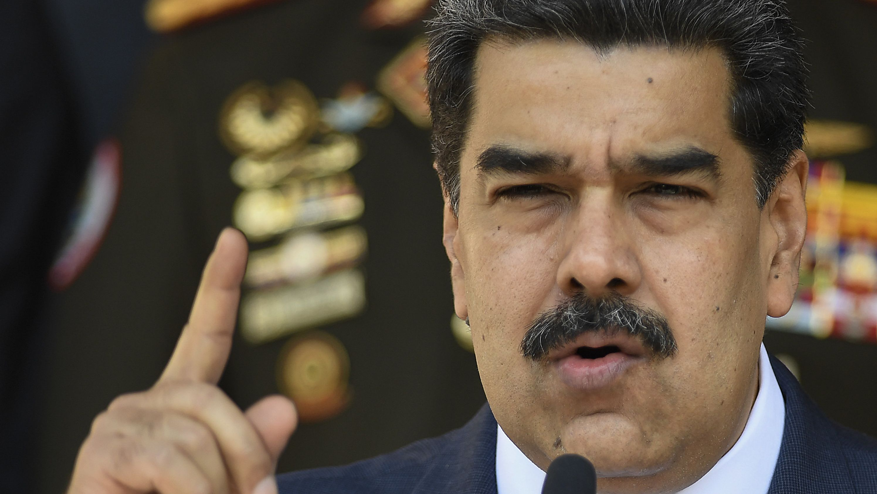 Präsident von Venezuela Nicolas Maduro spricht auf einer Pressekonferenz in Caracas.