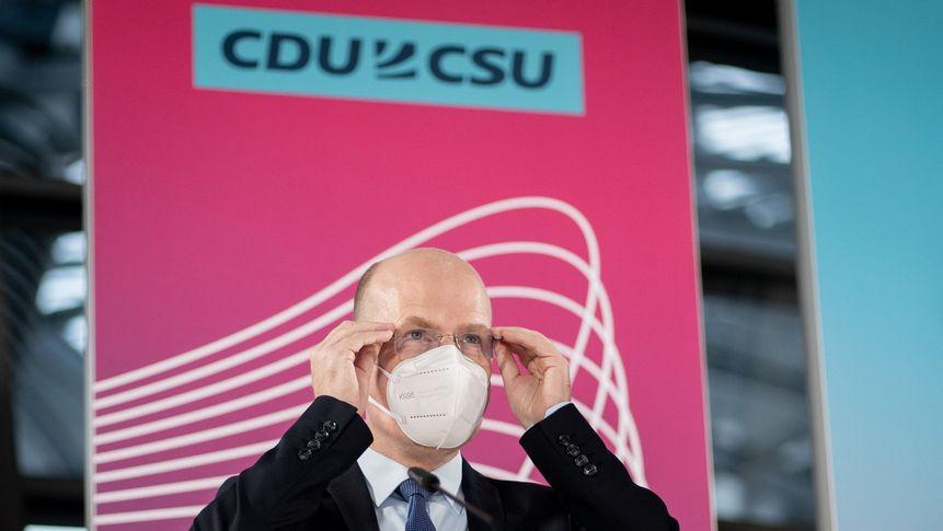 Ralph Brinkhaus (CDU), Vorsitzender der CDU/CSU-Bundestagsfraktion, bei einem Pressestatement am 12.1.2021