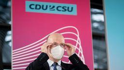 Ralph Brinkhaus (CDU), Vorsitzender der CDU/CSU-Bundestagsfraktion, bei einem Pressestatement am 12.1.2021 | Bild:dpa-Bildfunk/Kay Nietfeld