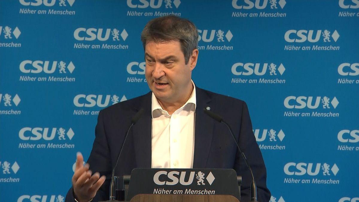 """Einen schweren """"Schlag in das Herz der Union"""" nannte CSU-Chef Söder die Ergebnisse der Landtagswahlen in Baden-Württemberg und Rheinland-Pfalz."""