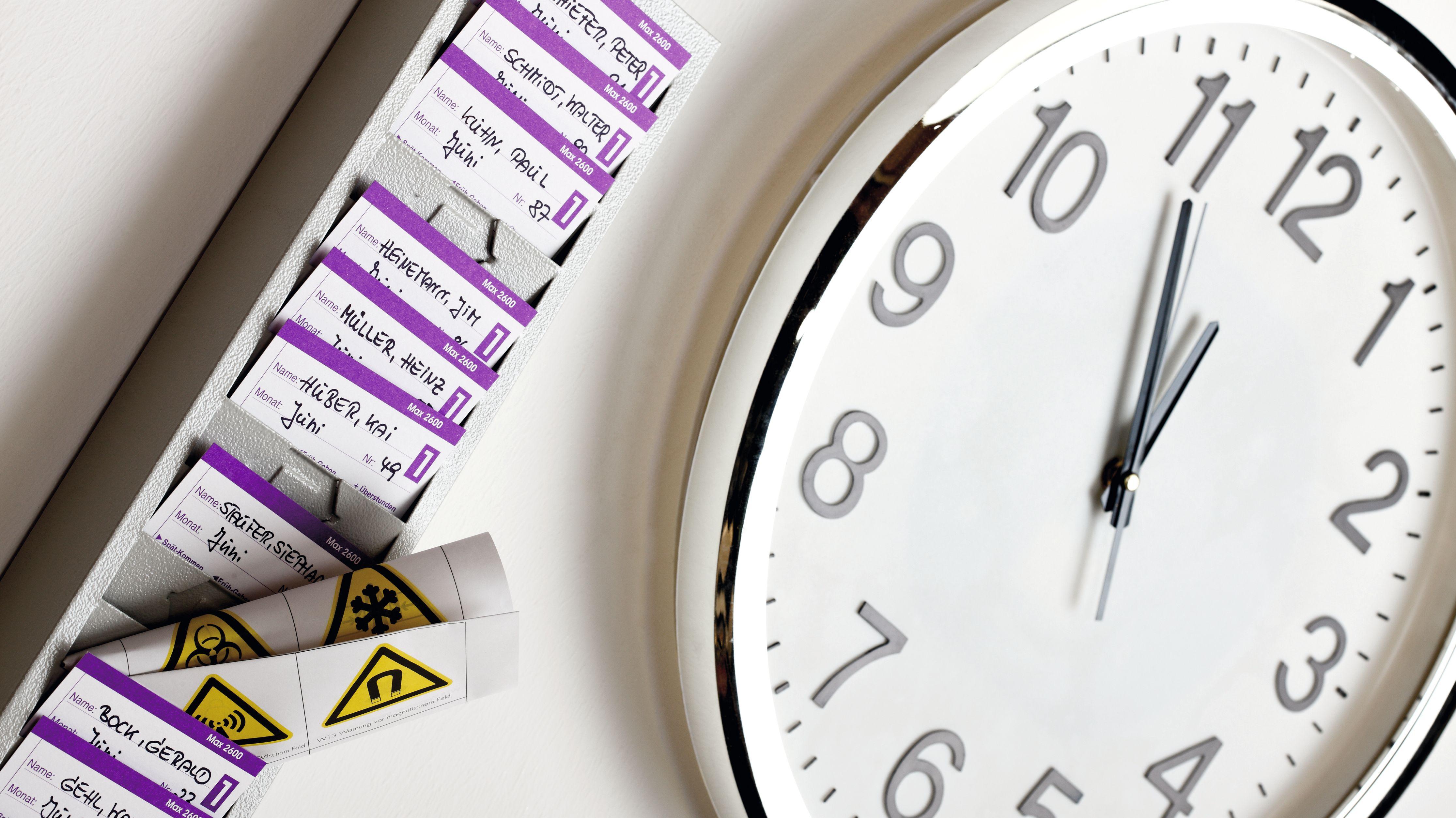 Uhr und Zeitkontenkarten