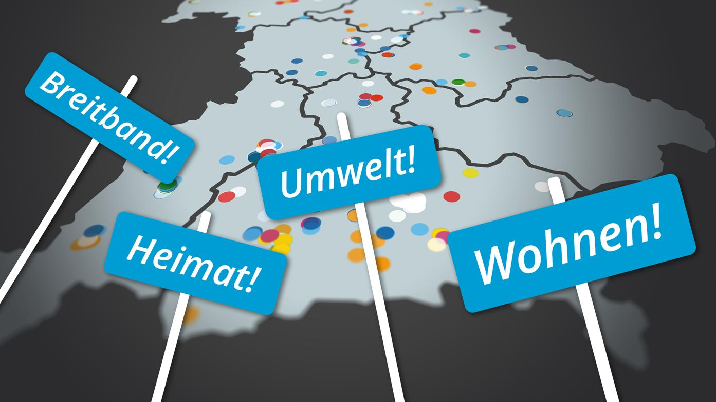 Standorte von Wahlplakaten auf einer Bayernkarte