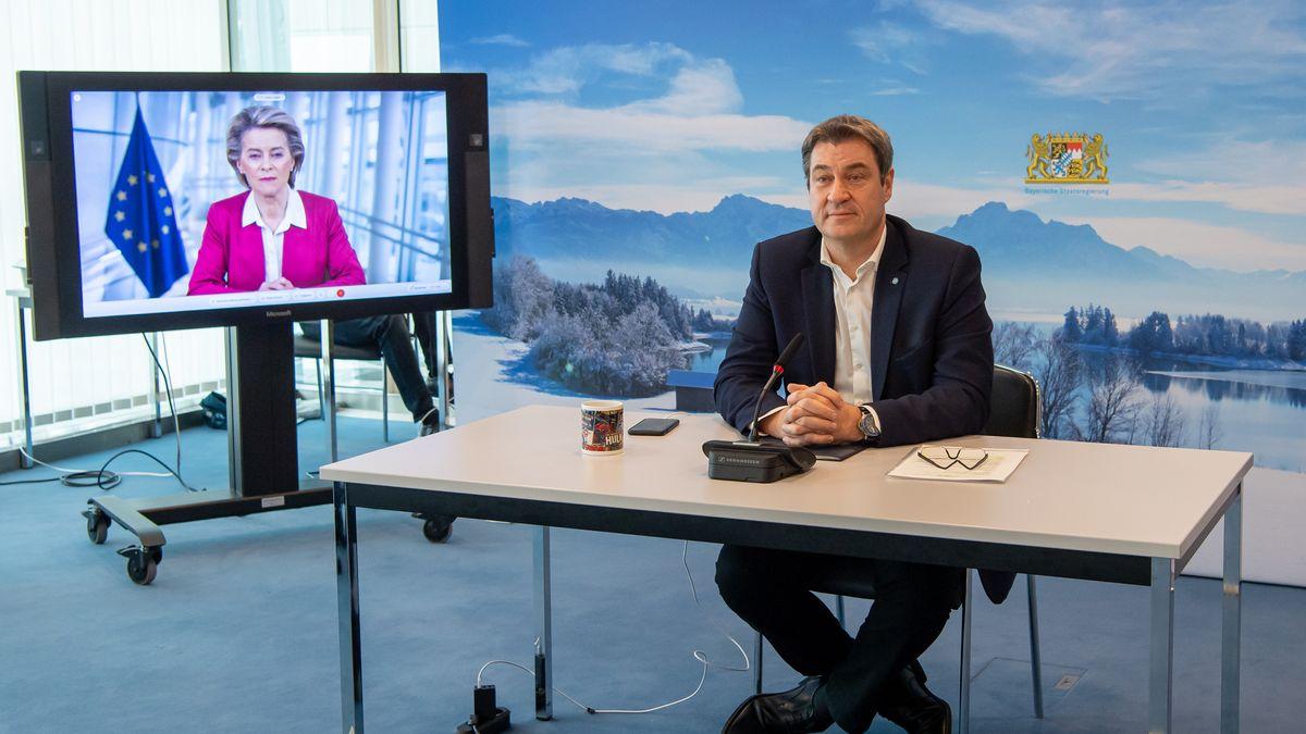 Markus Söder bei der Schaltkonferenz der Ministerpräsidenten mit Kommissionspräsidentin von der Leyen