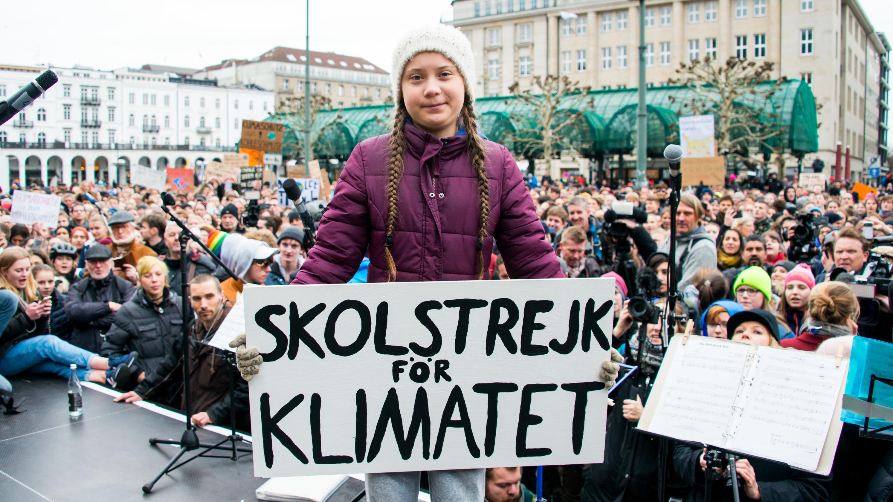 Klimaaktivistin Greta Thunberg in Hamburg.