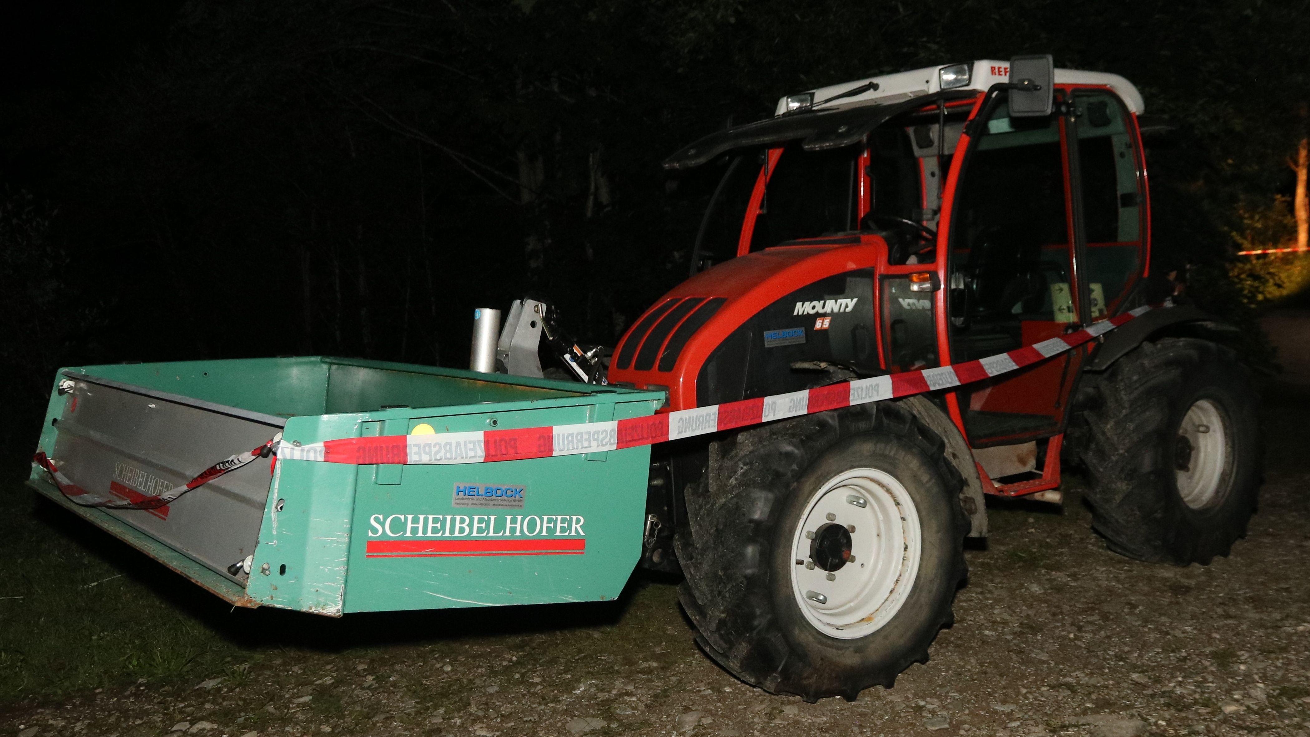 Traktor nach dem Unfall
