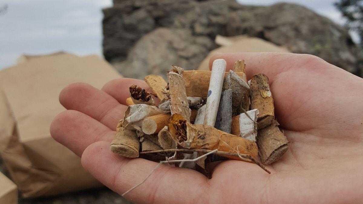 Eine Hand voll mit Zigarettenkippen