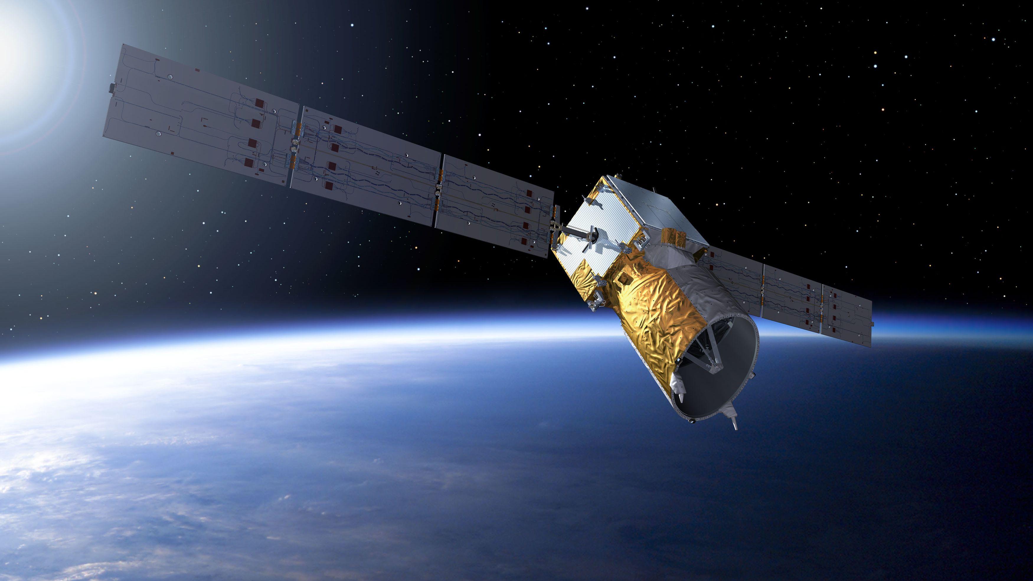 Der ESA-Satellit Aeolus als grafische Darstellung. Er dient der Windmessung in der Atmosphäre.