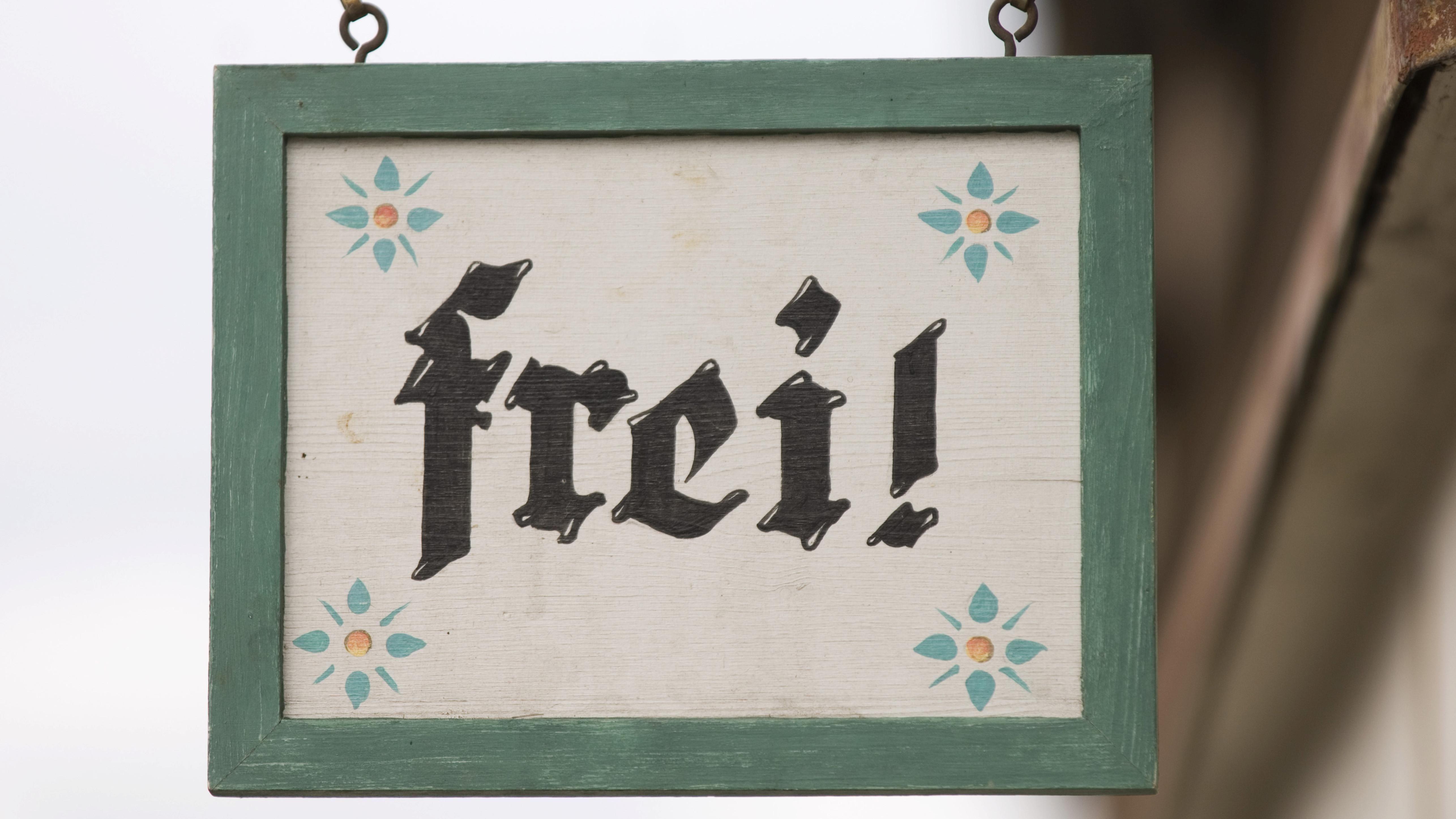 """Schild """"Frei"""""""