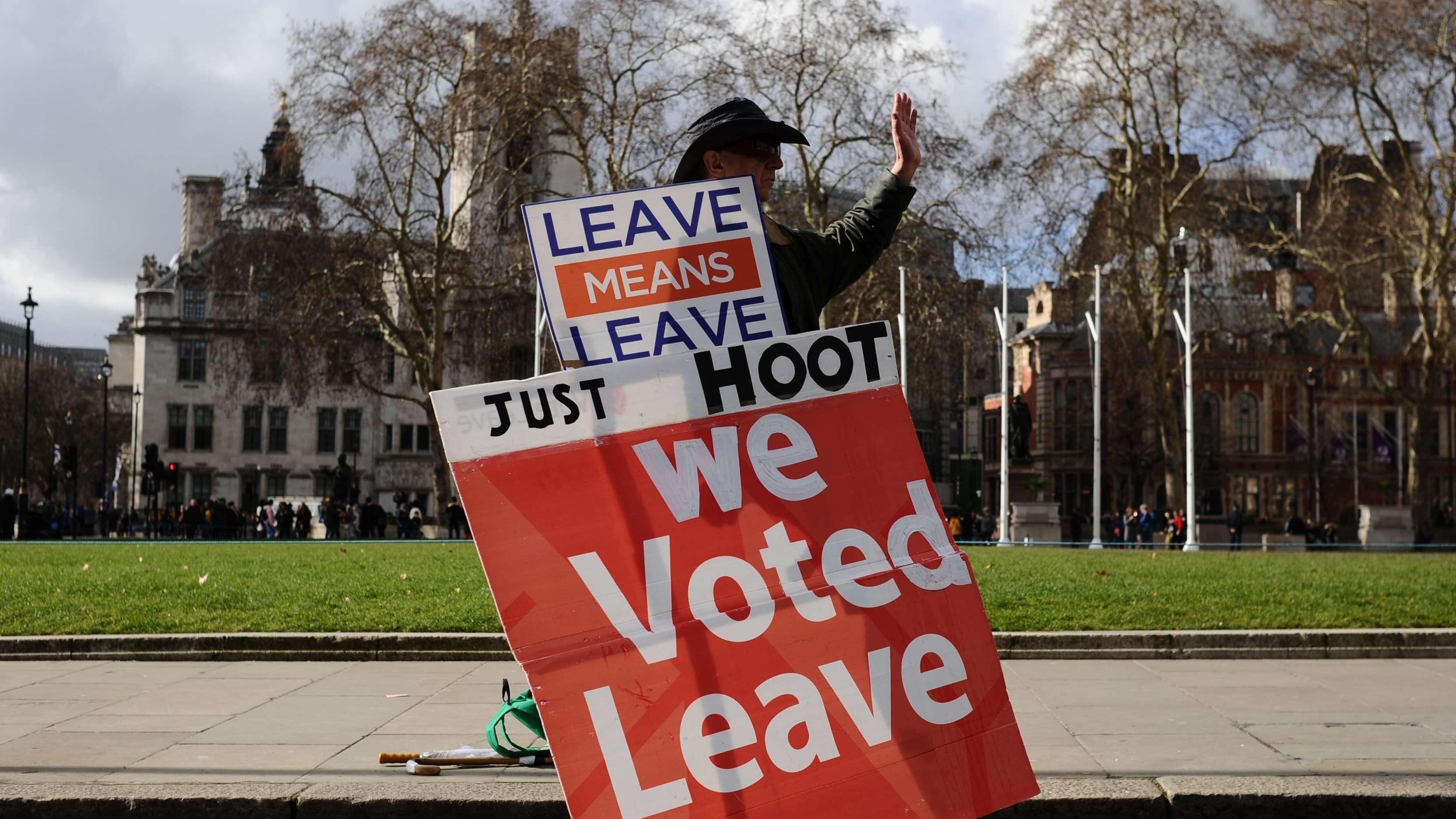 Pro Brexit-Aktivist mit Plakat  in London