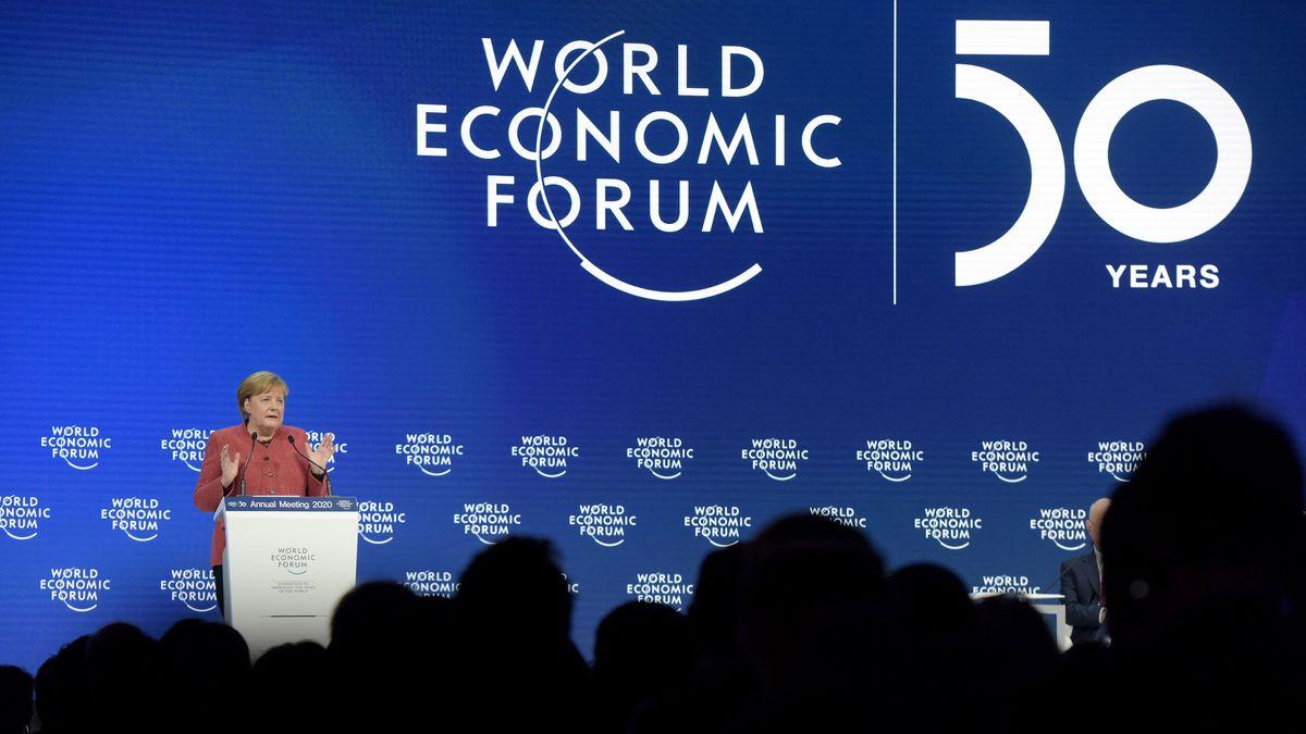 Bundeskanzlerin Angela Merkel beim Weltwirtschaftsforum in Davos