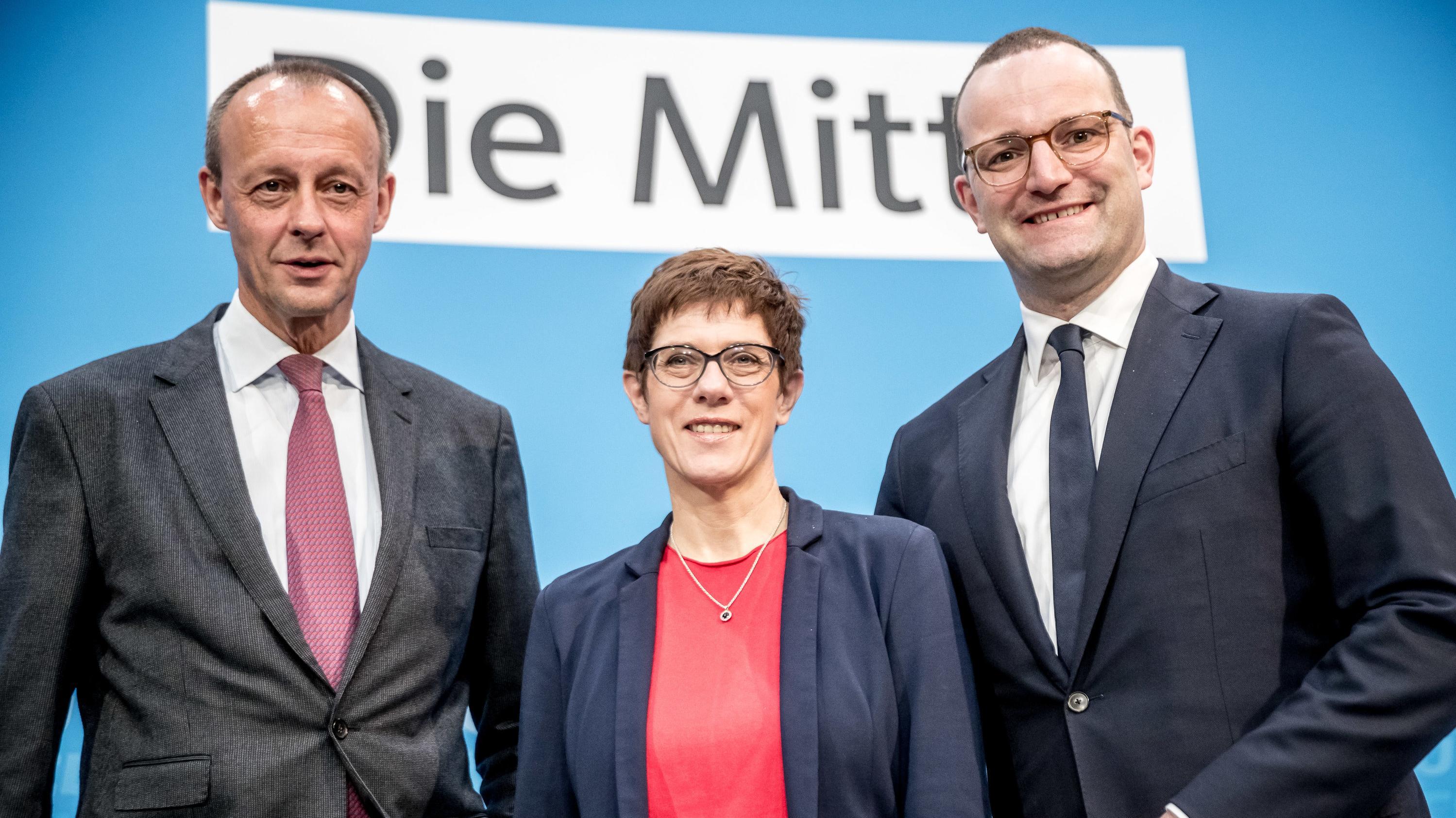 Drei der Kandidaten für den CDU-Parteivorsitz: Friedrich Merz, Annegret Kramp-Karrenbauer und Jens Spahn