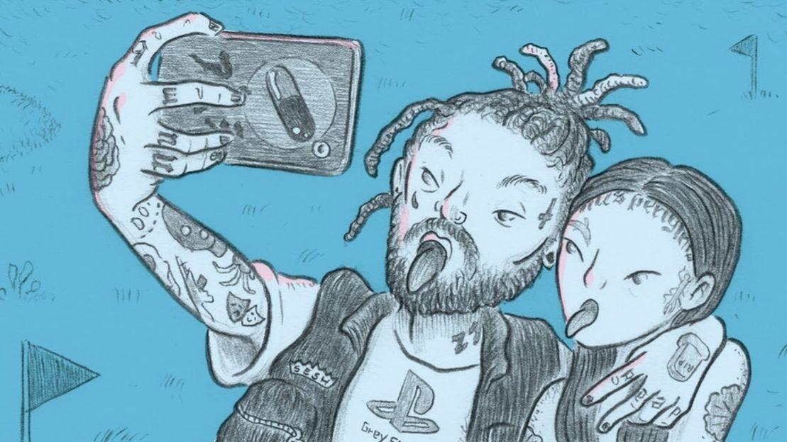 """Illustration aus der Graphic Novel """"Unfollow"""": Ein Fan macht ein Selfie mit Hauptfigur und Influencer Earthboi"""