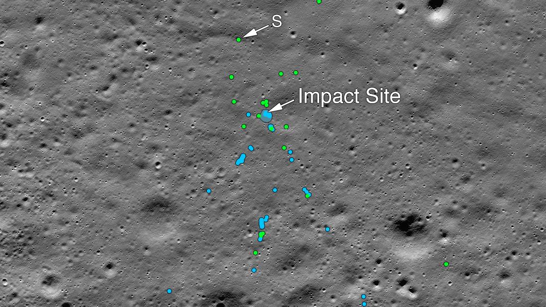 Wrackteile der indischen Raumsonde Vikram auf dem Mond