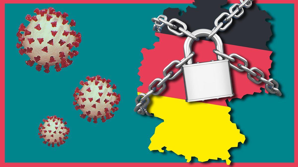 Auf der linken Seite des Bildes befinden sich drei unterschiedlich große Coronaviren. Auf der rechten Seite eine Deutschlandkarte in den Farben der Deutschlandflagge, umschlungen von einer überkreuzten Kette mit einem Schloss in der Mitte.