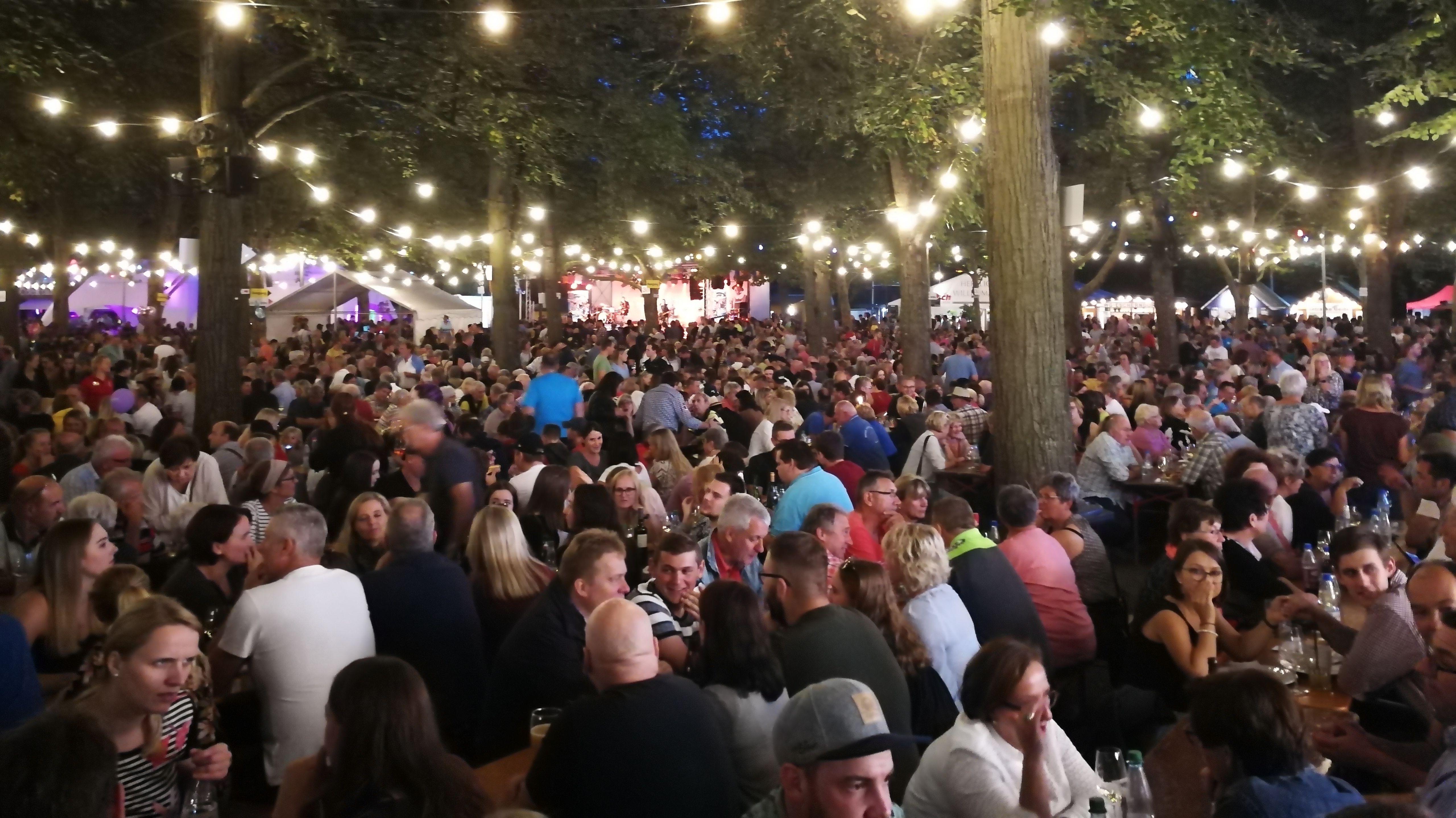 Besucher des Volkacher Weinfests sitzen am Abend unter beleuchteten Bäumen.