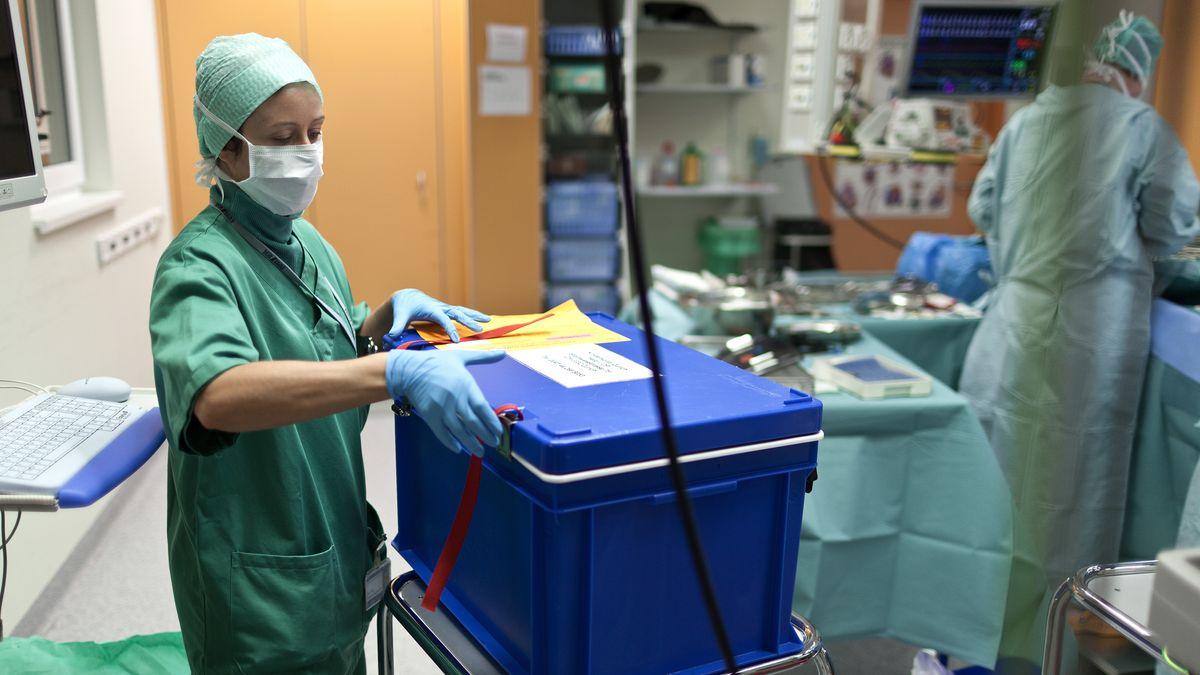 zwei Intensivmedizin mit einem Behälter mit Spenderorgan