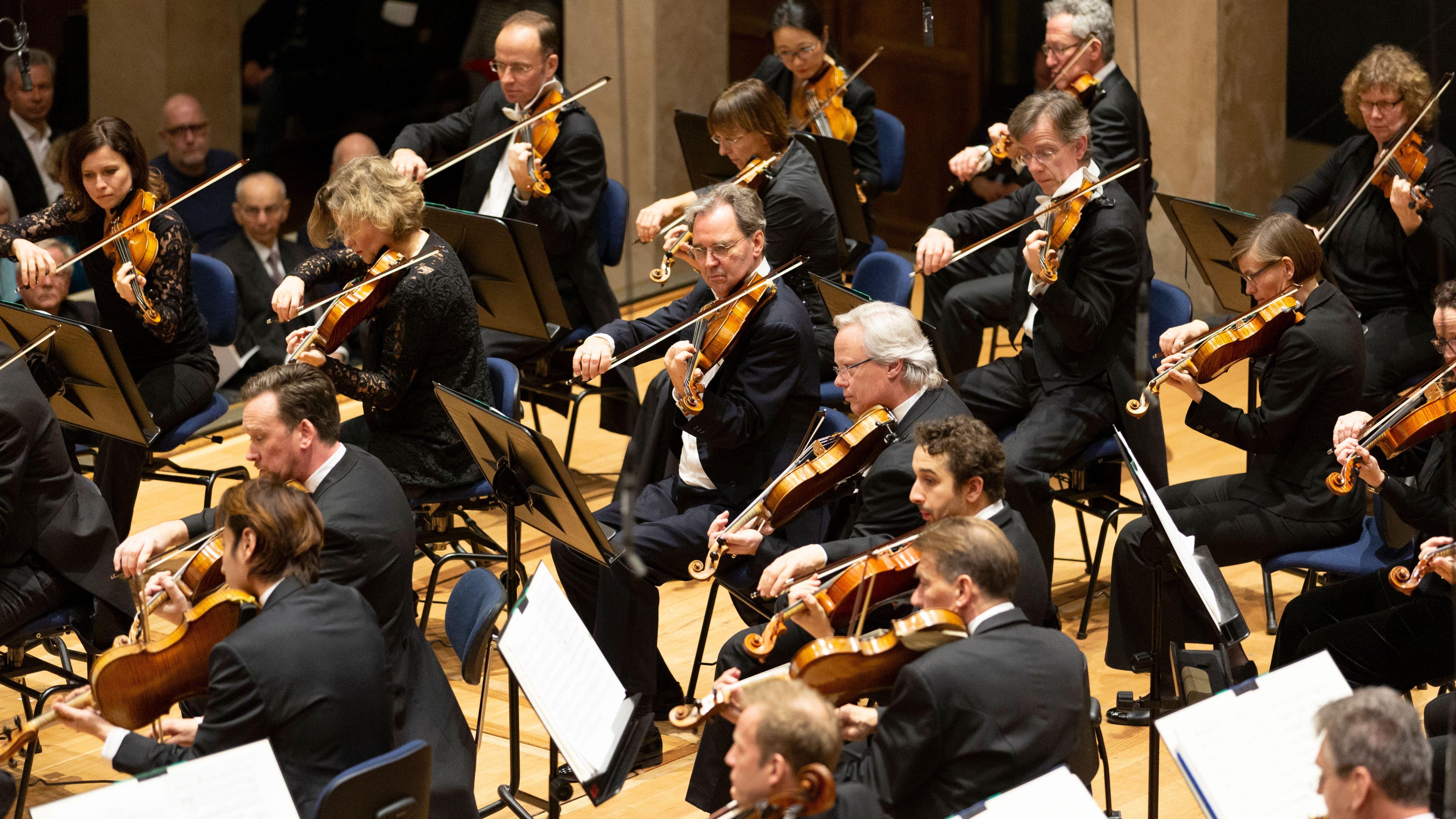 Streicher des Symphonieorchesters des Bayerischen Rundfunks beim Konzert im Münchner Herkulessaal