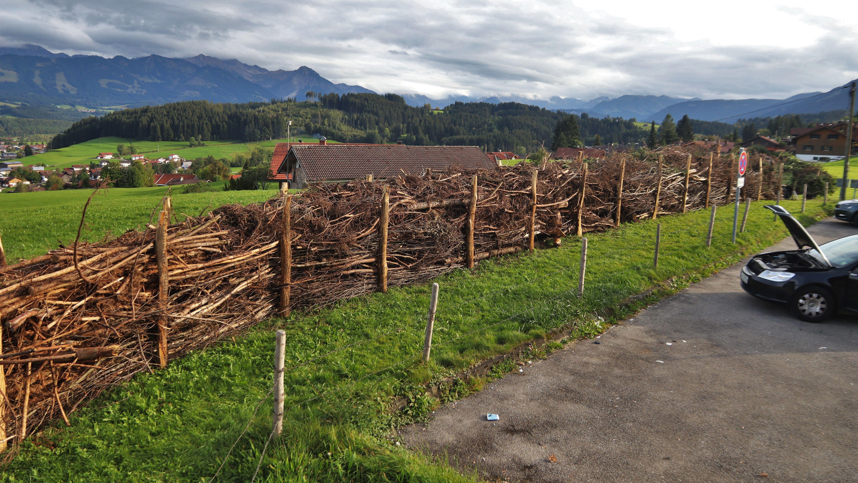 Totes Holz statt Allgäu-Panorama: Mit dieser Barrikade wehren sich die Anwohner am Hüttenberg gegen Parkplatzpartys.