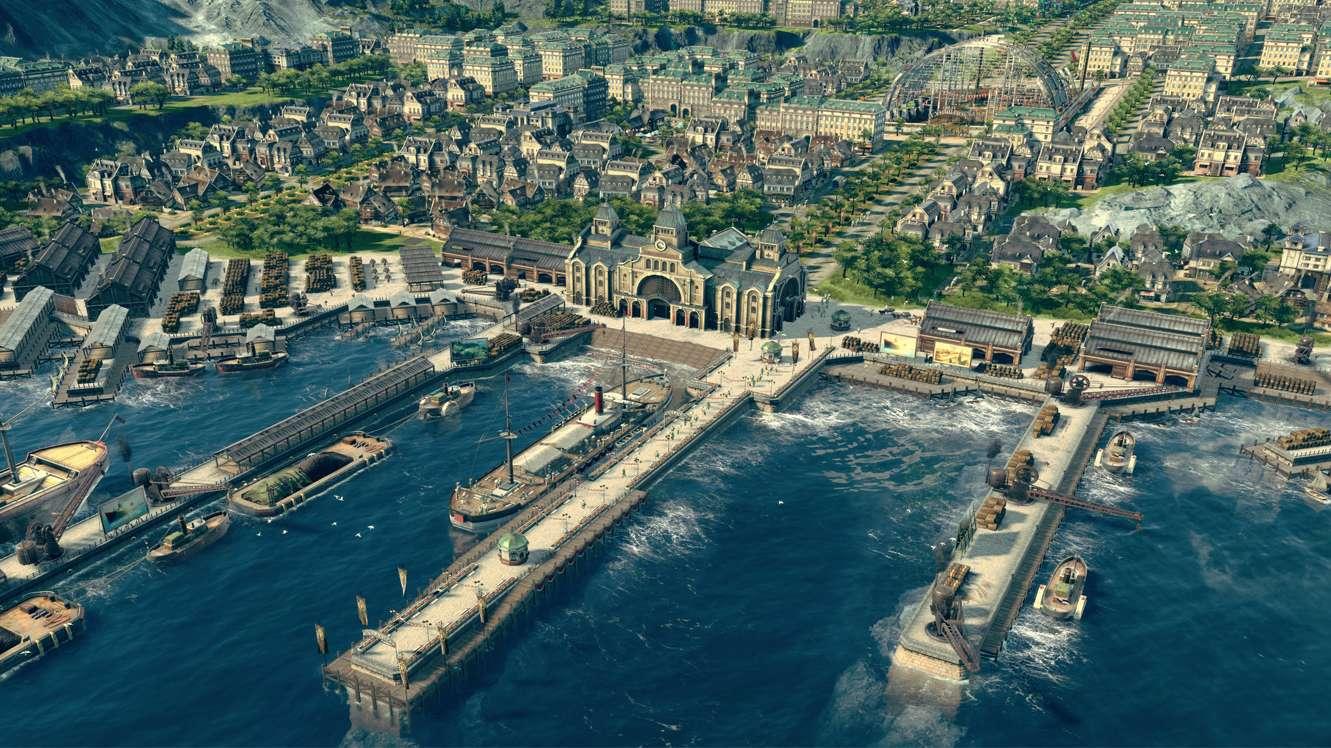 Der Hafen einer typischen, fortgeschrittenen Anno Siedlung