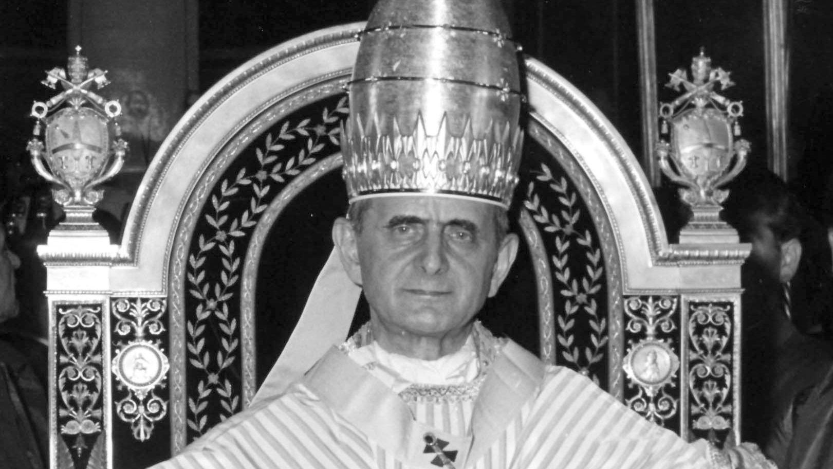 Papst Paul VI. auf seinem Thron