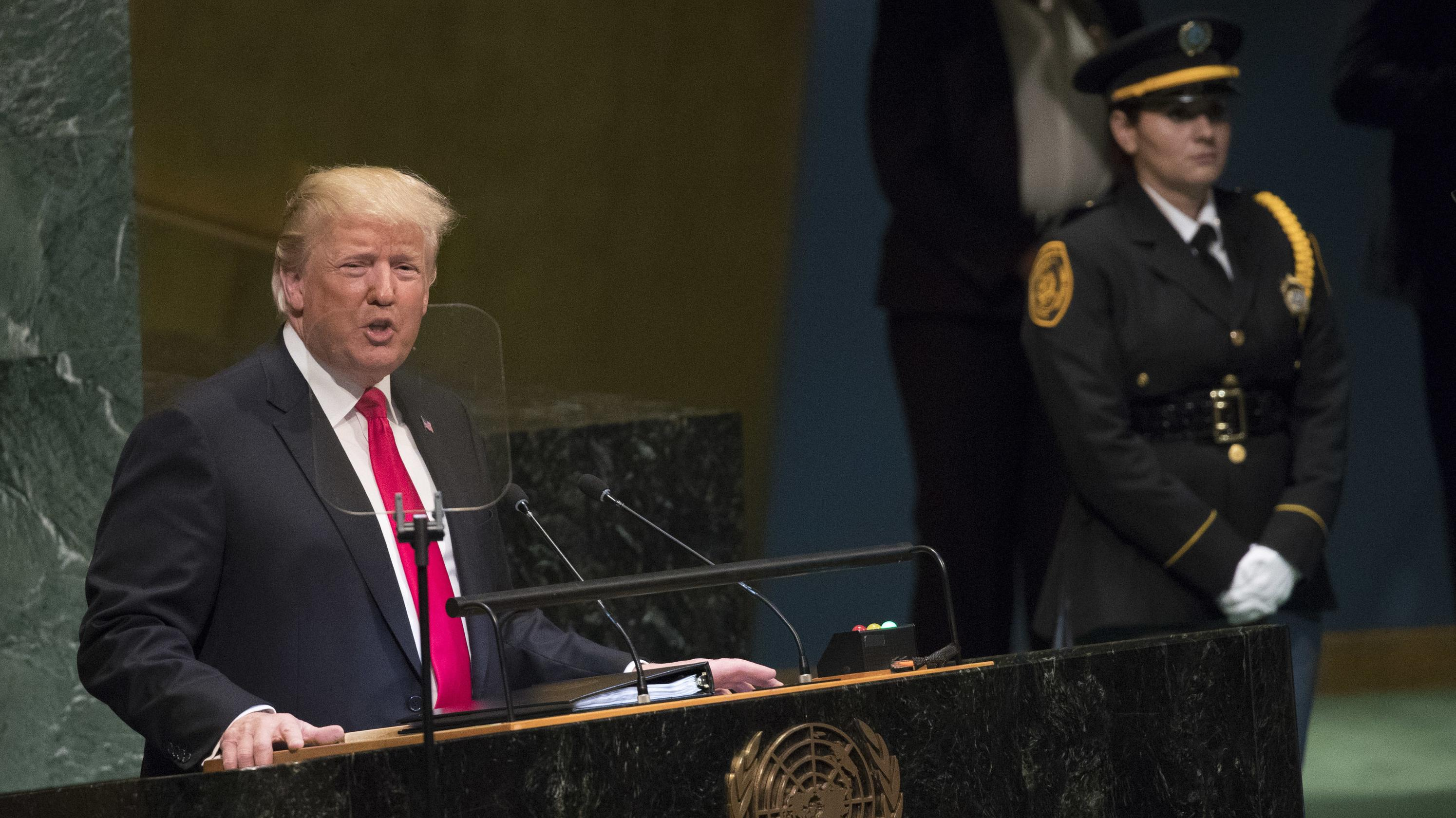 25.09.2018, USA, New York: Donald Trump, Präsident der USA, spricht bei der Generaldebatte der UN-Vollversammlung.