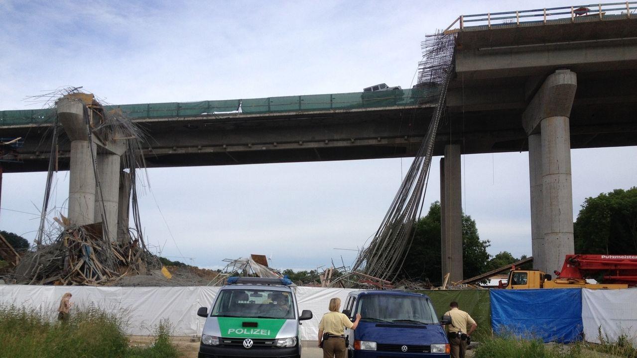 Autobahnbrücke bei Schraudenbach eingestürzt