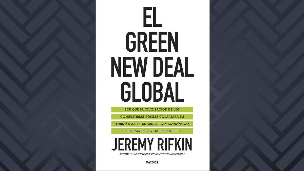 """Buchcover von """"Der globale Green New Deal"""" von Jeremy Rifkin: Schwarze schlichte Schrift auf weißem Hintergrund."""