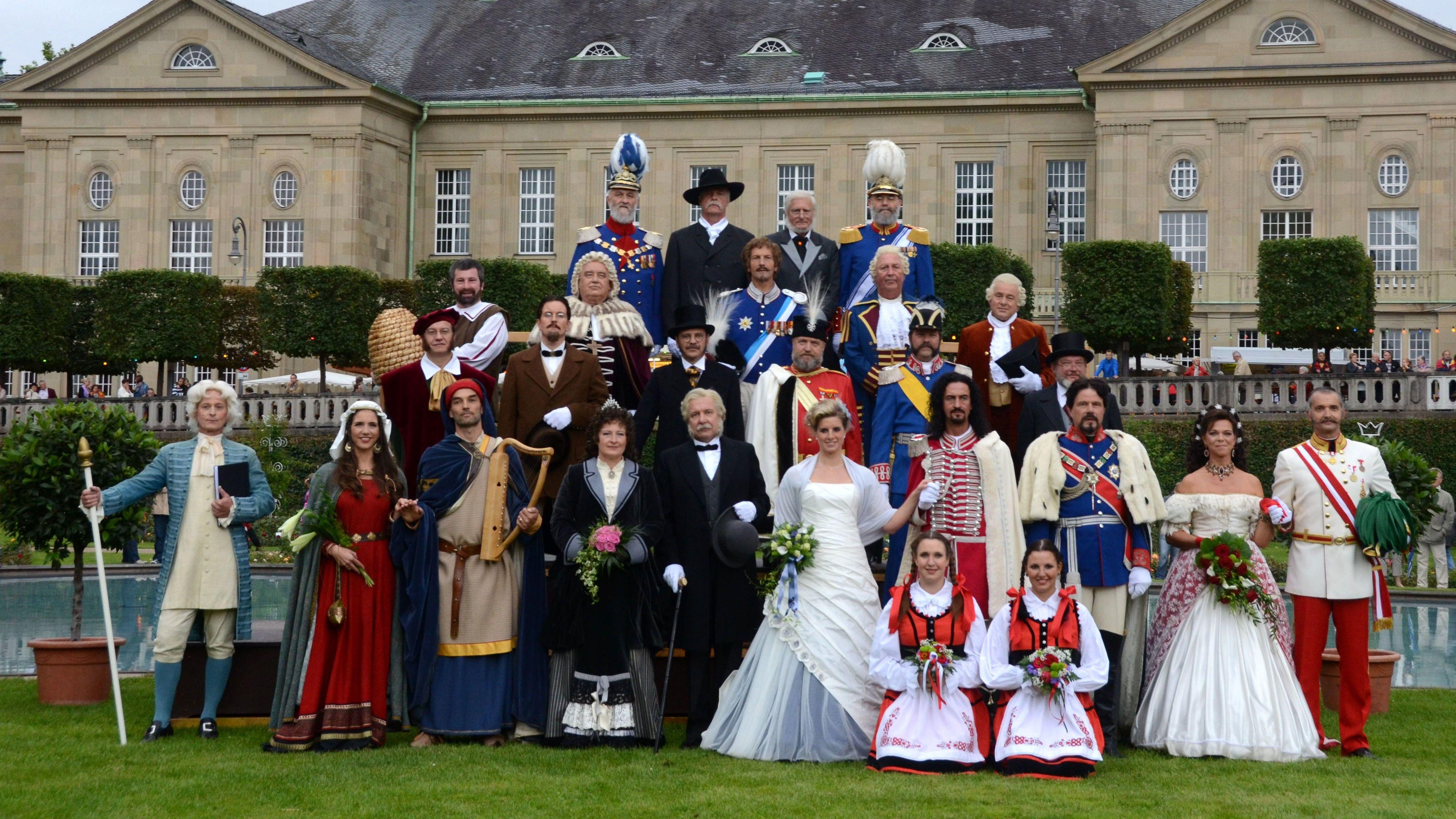Als historische Persönlichkeiten verkleidete Bürger beim Rakoczy-Fest in bad Kissingen