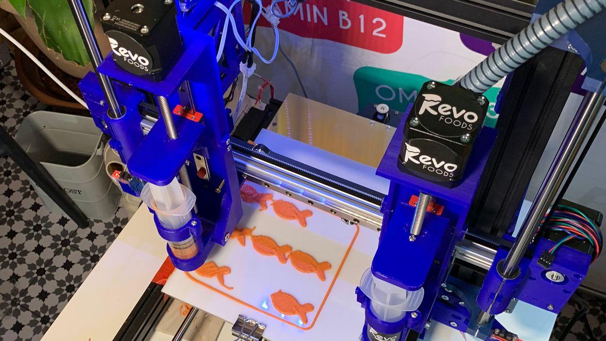 In einem 3D-Drucker wird Lachs gedruckt.