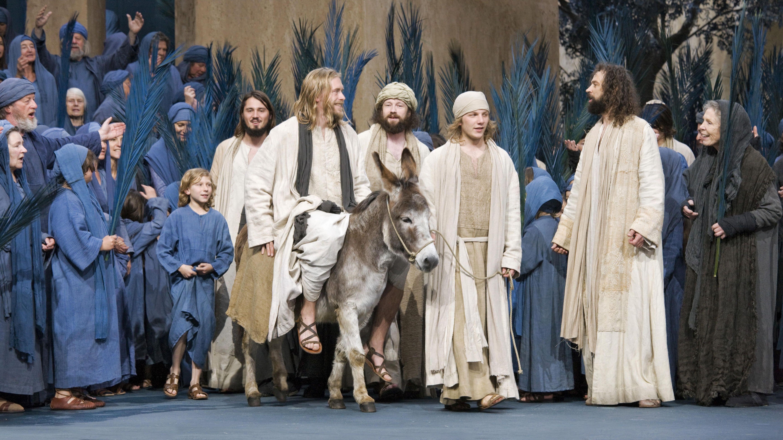 Jesus auf einem Esel bei den Passionsspielen 2010 in Oberammergau.