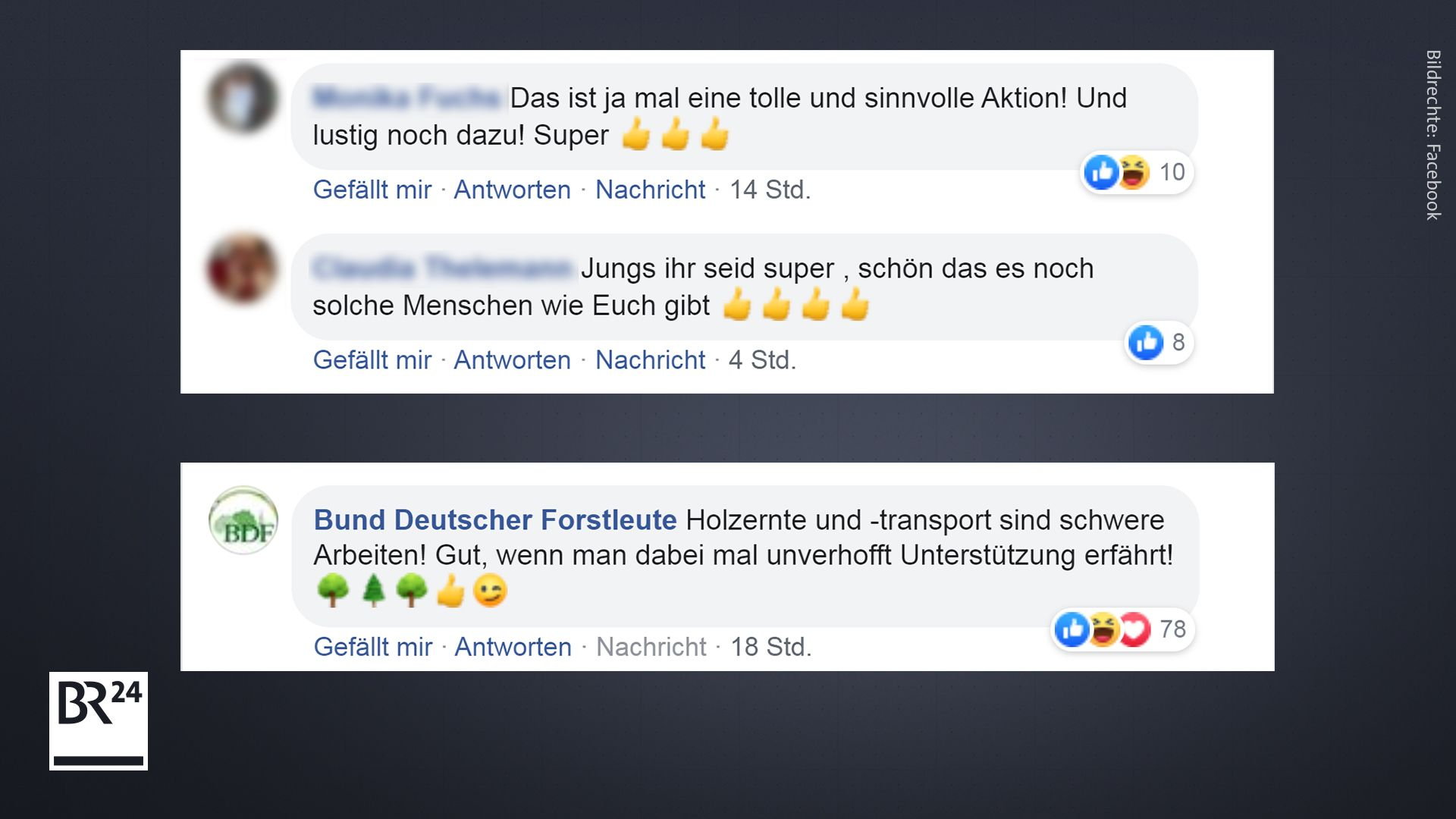 Kommentare auf Facebook