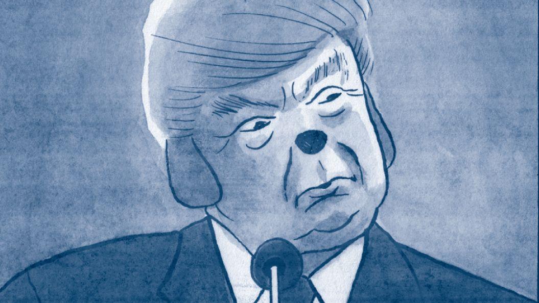 """Links: Marc, der verlassene Vater zweier Kinder, der nicht weiß, wie man Kekse backt, rechts: Donald Trump, als Abtreibungsgegner. aus der Graphic Novel """"Ausnahmezustand"""" von James Sturm"""