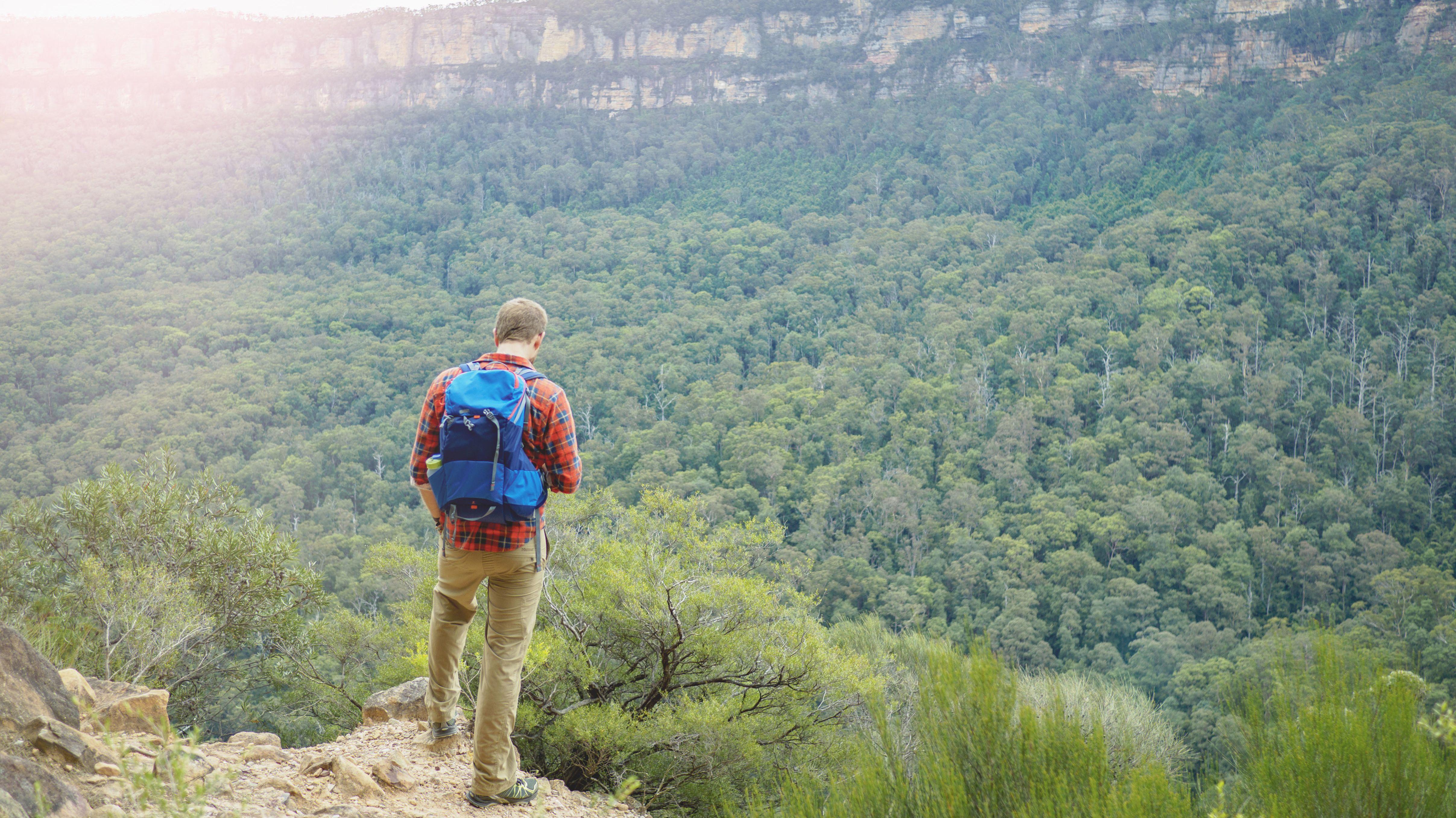 Mann steht auf Felsen und schaut auf die Blauen Berge in Australien, New South Wales, Katoomba.