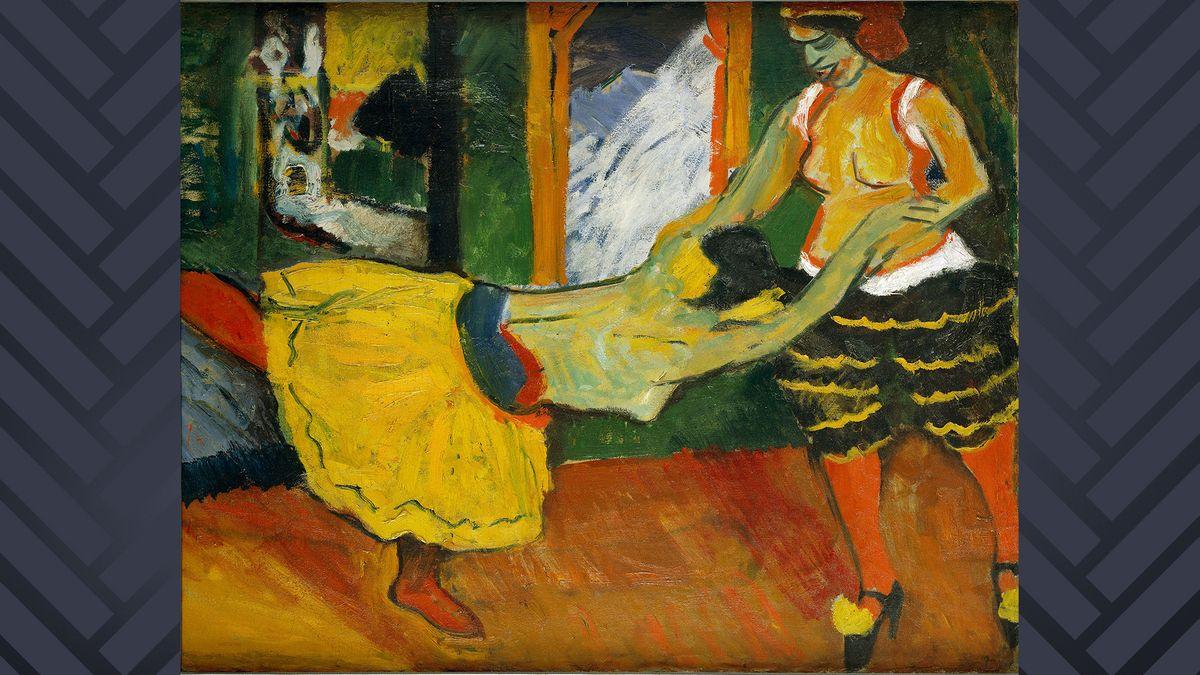 """Auf dem Ölgemälde """"Tanz"""" in expressiven, knalligen Farben wirbeln zwei Frauen über die Bühne, die sich an den Händen halten."""