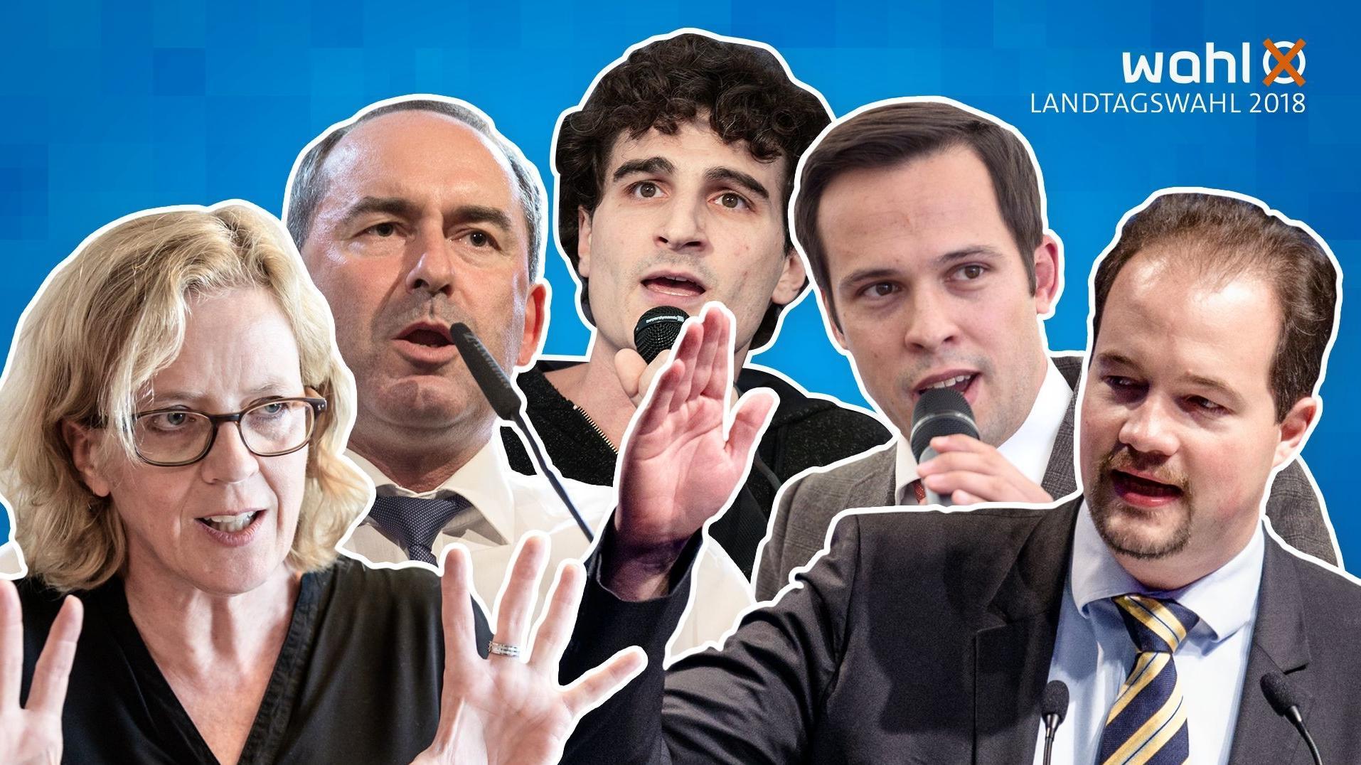 Natascha Kohnen (SPD), Hubert Aiwanger (Freie Wähler), Ates Gürpinar (Die Linke), Martin Hagen (FDP), und Martin Sichert (AfD) (v.l.)