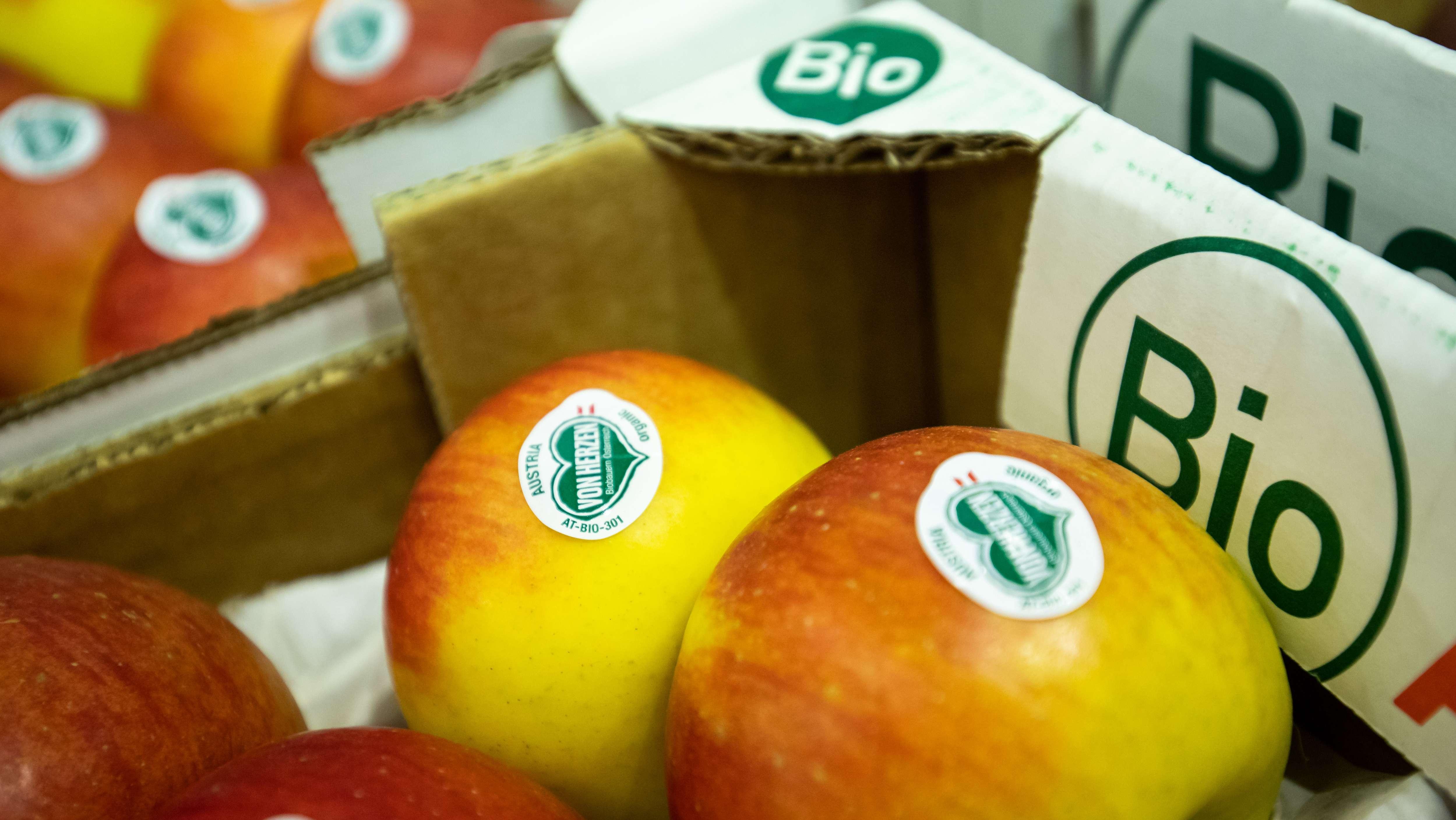 """Äpfel liegen in einer Kiste auf der """"Bio"""" steht. Die Äpfel haben herzförmige Aufkleber"""