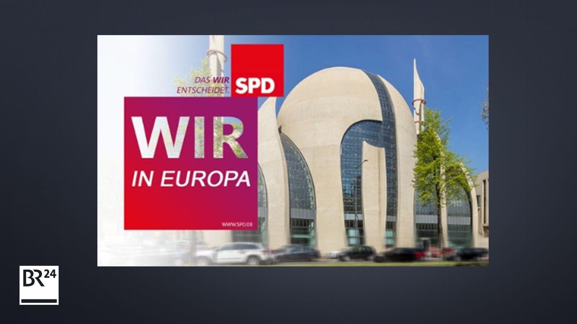 Ein gefälschtes Wahlplakat der SPD zeigt die Zentralmoschee in Köln