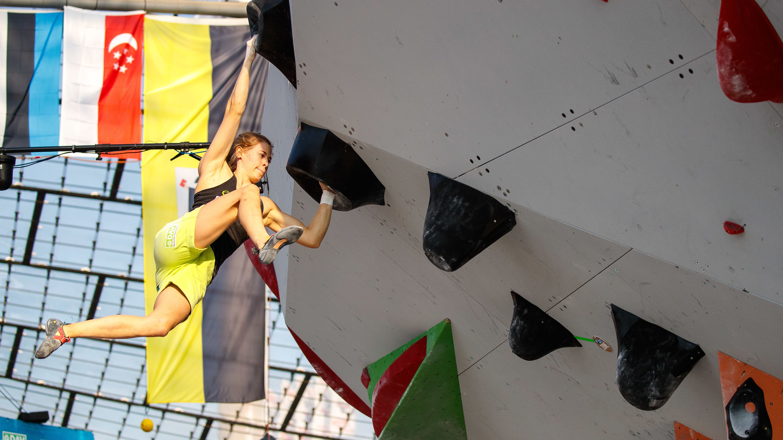 Alma Bestvater beim Boulder-Weltcup in München im vergangenen Jahr