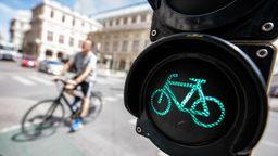 Radfahrer und Radfahrer-Ampel | Bild:picture-alliance/dpa